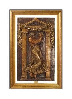 Pierre Auguste Renoir Bronze Sculpture Large Wall Relief Woman Tambourine Art
