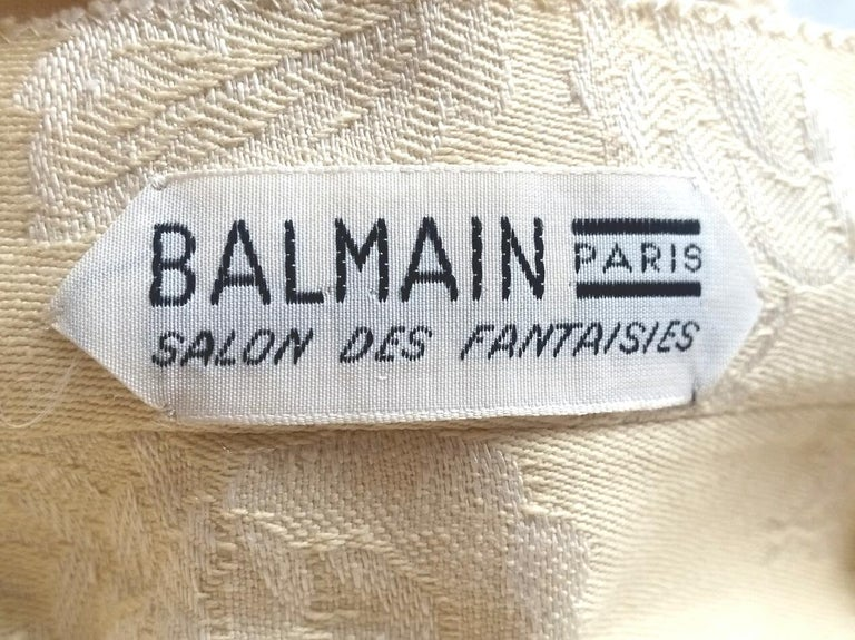 Women's Pierre Balmain 1950s Haute Couture Cream Jacquard Two Piece Bridal Set  For Sale