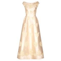 Pierre Balmain 1960s Haute Couture Ivory Silk Gazar Bridal Dress