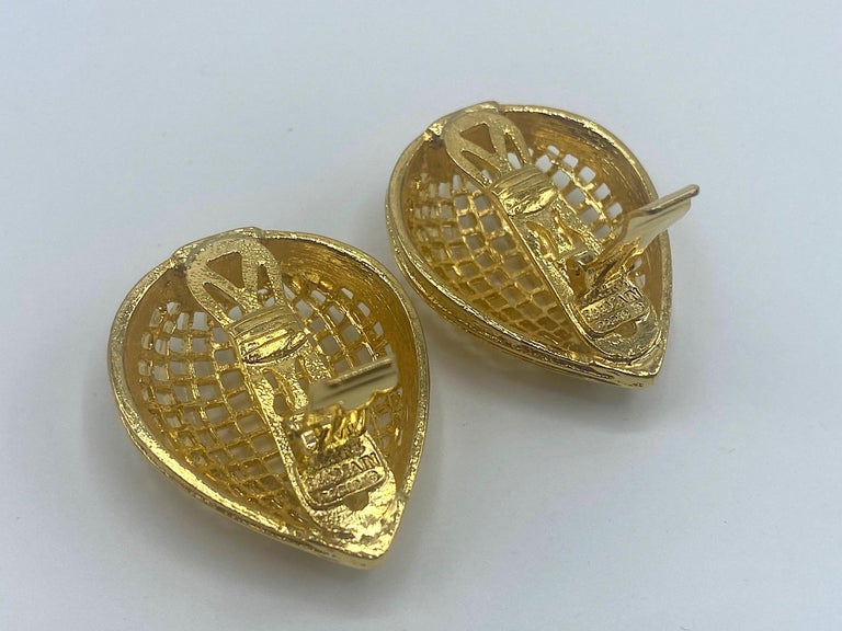 Pierre Balmain 1980s Large Gold Openwork Earrings For Sale 3