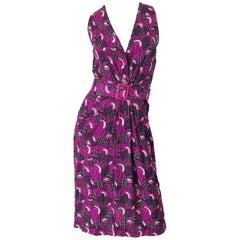 Pierre Balmain 1980s Pink Abstract Flower Geometric Silk Linen Vintage 80s Dress