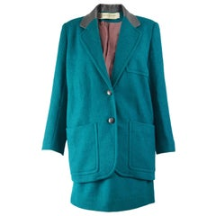Pierre Balmain 1980s Vintage Wool Blazer Jacket & Mini Skirt Suit
