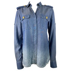 Pierre Balmain Blue Denim Shirt Size 40