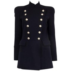 PIERRE BALMAIN blue wool DOUBLE BREASTED Coat Jacket 36 XS