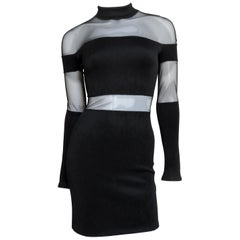 Pierre Balmain Bodycon Dress with Sheer Shoulders and Waist