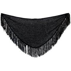 Pierre Balmain Boutique Black Wool Fringes Scarf Cape 1980s