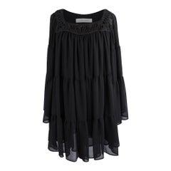 Pierre Balmain Dress Black Tiered Flounces 40 / 6 Mint
