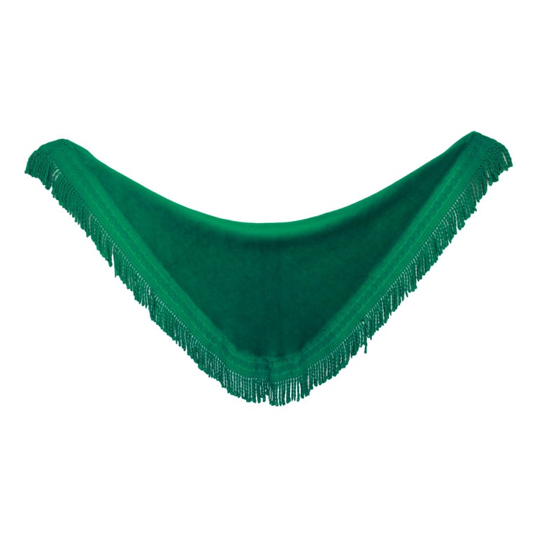 46f8a7846a Pierre Balmain Green Wool Wraparound Soft Cape Scarf Fringes 80s Made in  France For Sale