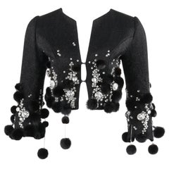 PIERRE BALMAIN Haute Couture c.1964 Black Crystal Beaded Mink Fur Cropped Jacket