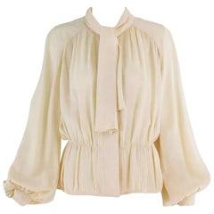Pierre Balmain Haute Couture Cream Silk Pleated Tie Blouse 1950s