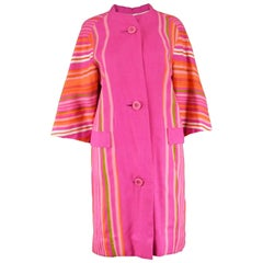 Pierre Balmain Haute Couture Pink and Rainbow Striped Linen Vintage Jacket, 60s