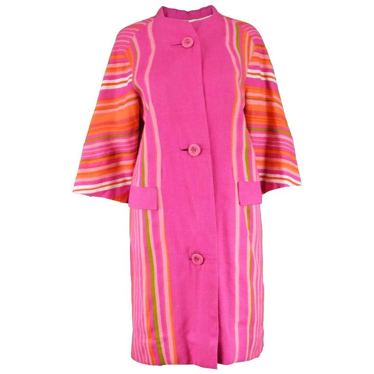 Pierre Balmain Haute Couture Pink and Rainbow Striped Linen Vintage Jacket, 60s