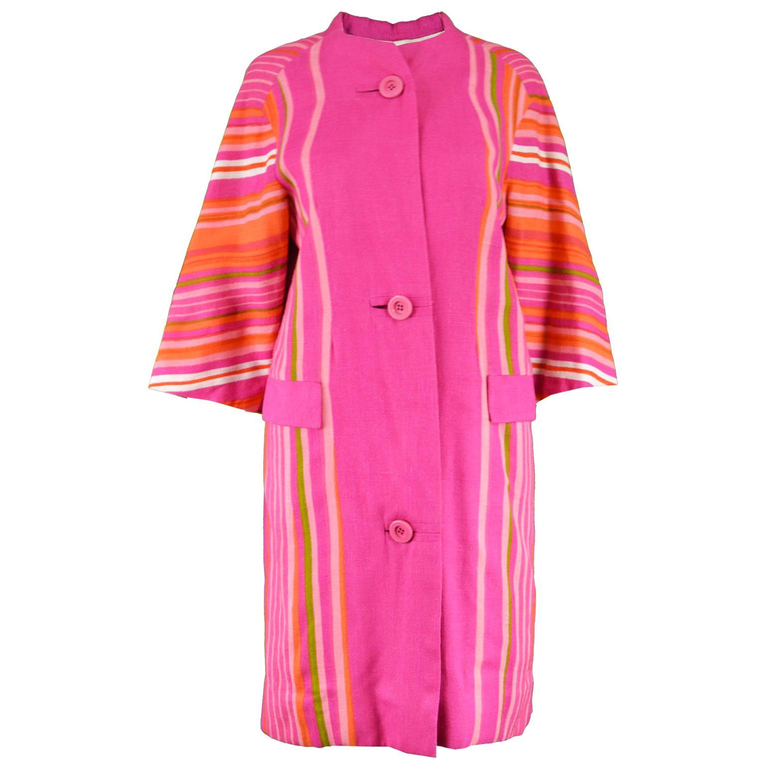 Pierre Balmain Haute Couture Pink & Rainbow Striped Linen Vintage Jacket, 1960s