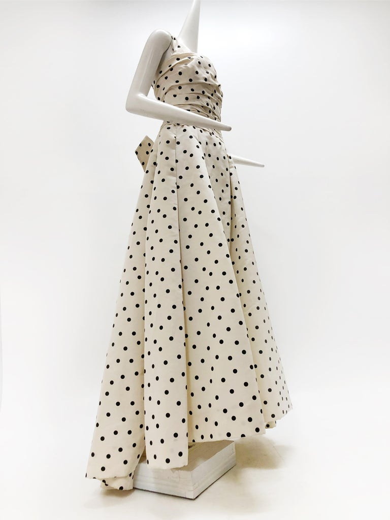 Pierre Balmain Haute Couture Polka Dot Faille Evening Gown w/ Corsetry Detail For Sale 5