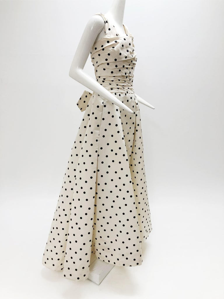 Pierre Balmain Haute Couture Polka Dot Faille Evening Gown w/ Corsetry Detail In Excellent Condition For Sale In San Francisco, CA