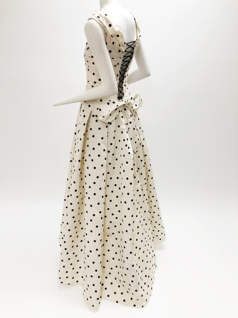 Women's Pierre Balmain Haute Couture Polka Dot Faille Evening Gown w/ Corsetry Detail For Sale