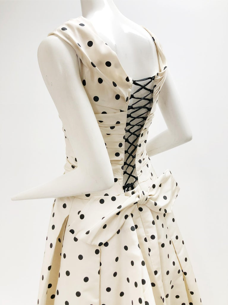 Pierre Balmain Haute Couture Polka Dot Faille Evening Gown w/ Corsetry Detail For Sale 1