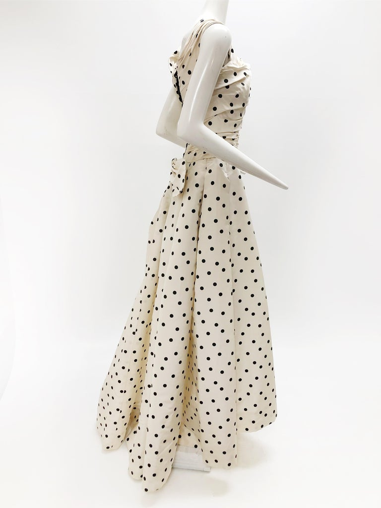 Pierre Balmain Haute Couture Polka Dot Faille Evening Gown w/ Corsetry Detail For Sale 3