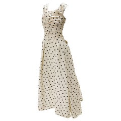 Pierre Balmain Haute Couture Polka Dot Faille Evening Gown w/ Corsetry Detail