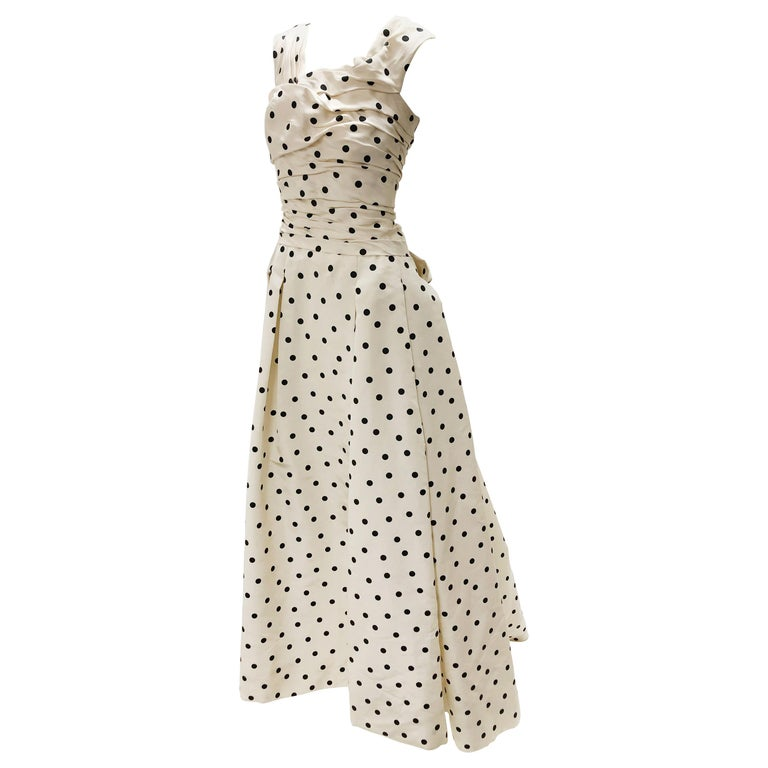 Pierre Balmain Haute Couture Polka Dot Faille Evening Gown w/ Corsetry Detail For Sale