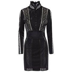 Pierre Balmain Lace Trimmed Stretch Knit Mini Dress