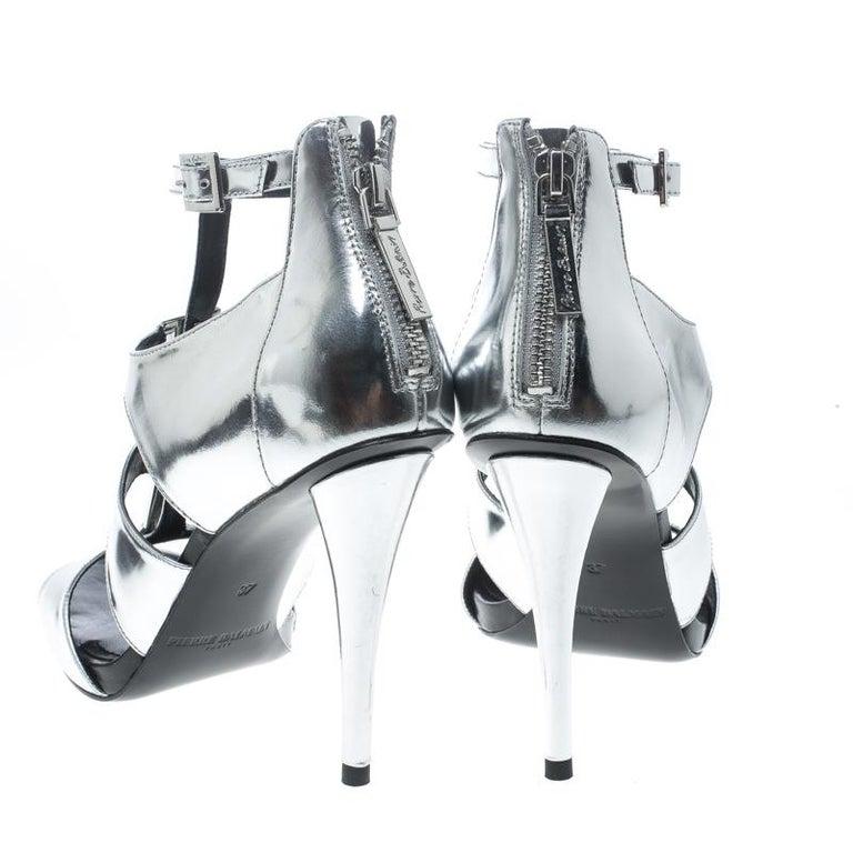 216e8449ccc Black Pierre Balmain Metallic Silver Leather Cage Strappy Sandals Size 37  For Sale
