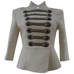 Pierre Balmain military-inspired white jacket
