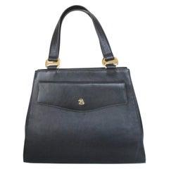 "Pierre Balmain Paris Black Calfskin ""Kelly"" style Bag 1960's Rare"