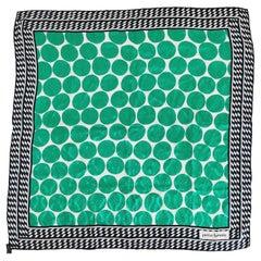 Pierre Balmain Paris Silk Jacquard Scarf Bold Green & Navy Blue Design 1970s
