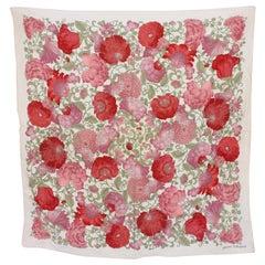 Pierre Balmain Pink Beige Silk Floral Scarf