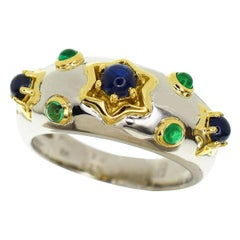 Pierre Balmain Platinum 18 Karat Yellow Gold Blue Sapphire Emerald Ring