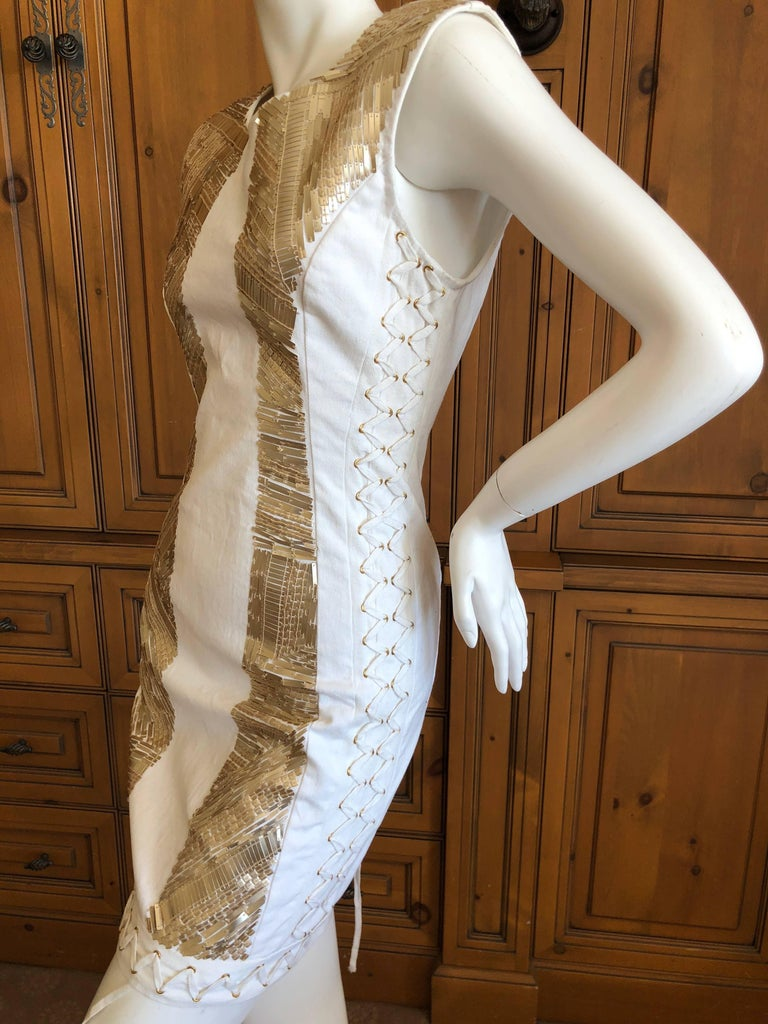 Gray Pierre Balmain Ivory Sequin Corset Lace Embellished Mini Dress   For Sale