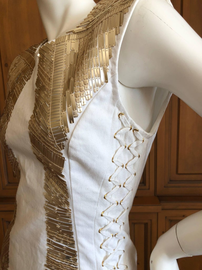 Pierre Balmain Ivory Sequin Corset Lace Embellished Mini Dress   In New Never_worn Condition For Sale In San Francisco, CA