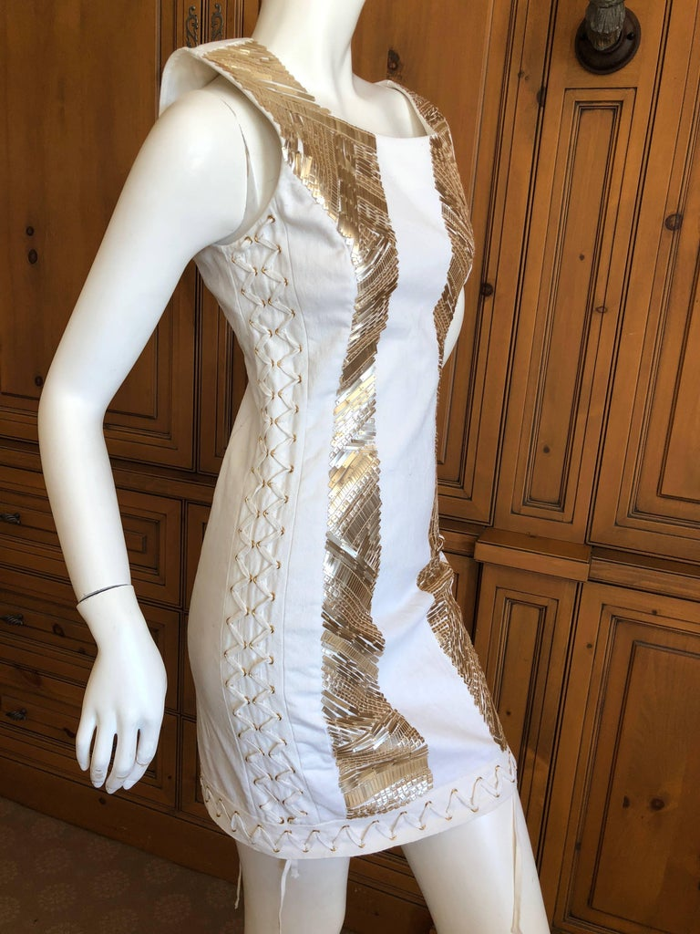 Pierre Balmain Ivory Sequin Corset Lace Embellished Mini Dress   For Sale 1