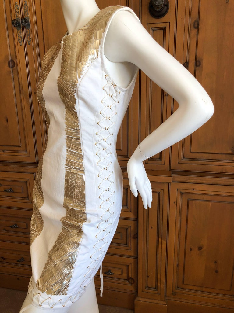 Pierre Balmain Ivory Sequin Corset Lace Embellished Mini Dress   For Sale 4