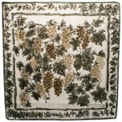 Pierre Balmain Silk Scarf Green Brown Vineyard Painting Print