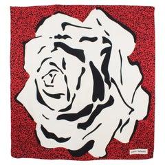 Pierre Balmain Silk Scarf Oversized Black and Red Rose Print