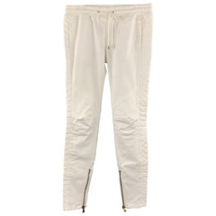 PIERRE BALMAIN Size 27 Cream Quilted Cotton Dawstring Casual Pants