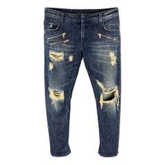 PIERRE BALMAIN Size 30 Indigo Distressed Denim Zip Fly Jeans