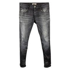 PIERRE BALMAIN Size 32 Indigo Distressed Cotton Button Fly Jeans