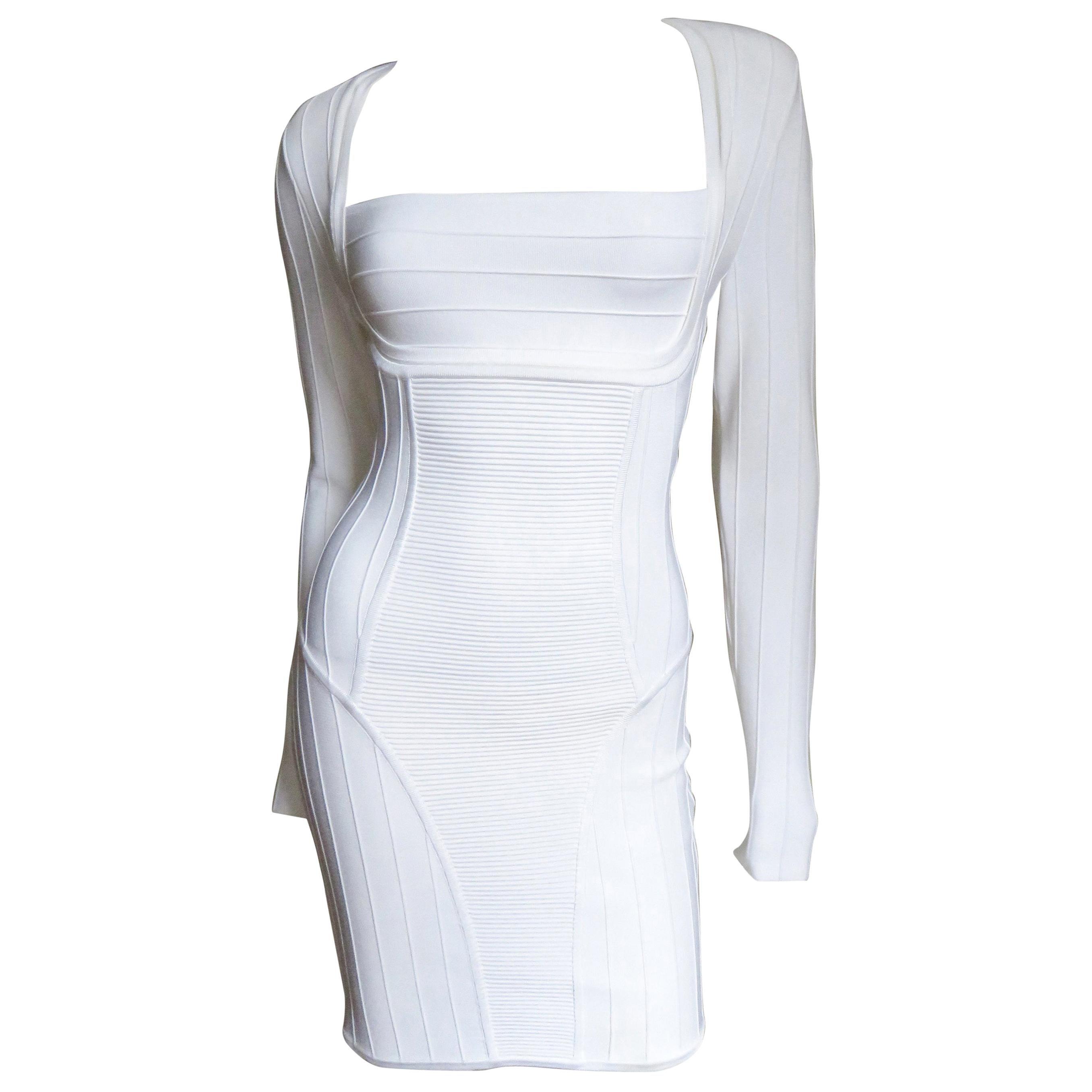 Pierre Balmain White Bandage Long Sleeve Bodycon Dress