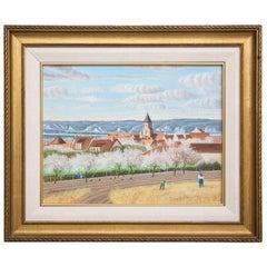 "Pierre Bazire ""Les Andelys au Printemps"" Framed Oil Painting on Board"