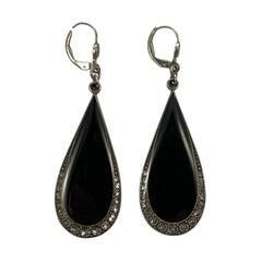 Pierre Bex Art Deco style Black Enamel and Clear Crystal Drop Earrings