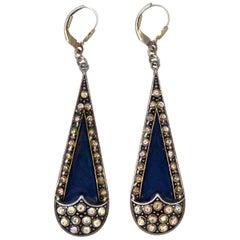 Pierre Bex Art Deco style Mid Blue Enamel Golden Aurora Borealis Drop Earrings