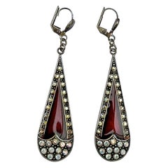 Pierre Bex Art Deco style Red Enamel and Golden Aurora Borealis Drop Earrings