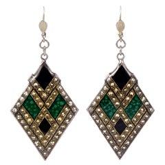 Pierre Bex Art Deco Style Silver Plated Green Black Enamel Rhinestone Earrings