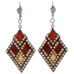 Pierre Bex Art Deco Style Silver Plated Orange Yellow Enamel Rhinestone Earrings