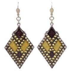 Pierre Bex Art Deco Style Silver Plated Purple Yellow Enamel Rhinestone Earrings