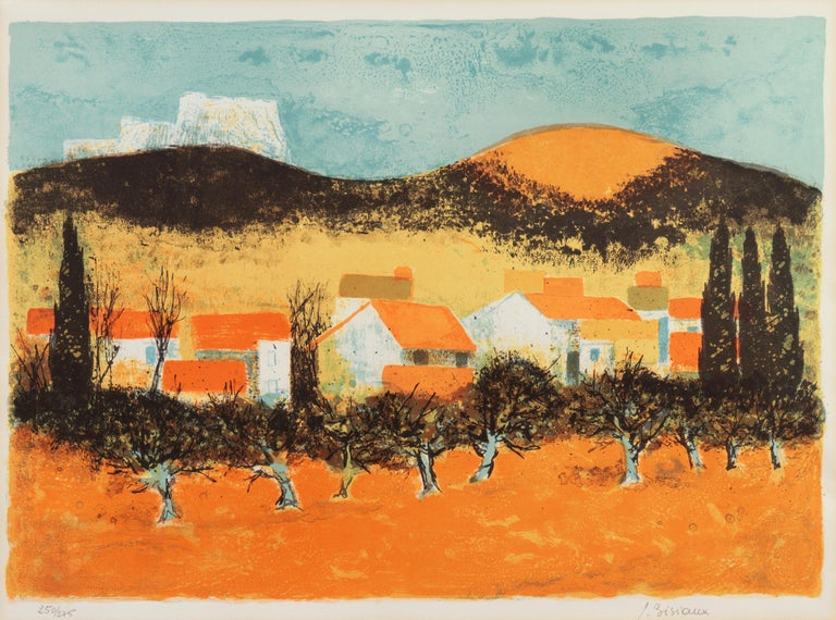 'Sunset over Provence', Paris Salon, Musée d'Art Moderne, Benezit - Print by Pierre Bisiaux