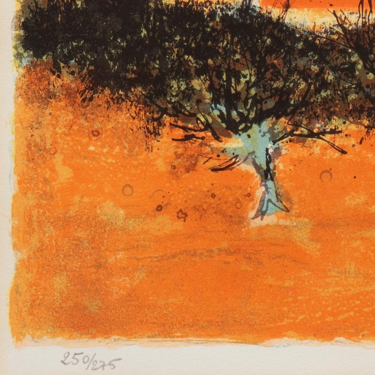 'Sunset over Provence', Paris Salon, Musée d'Art Moderne, Benezit - Brown Landscape Print by Pierre Bisiaux